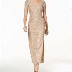 Connected sequined lace column gown NWT